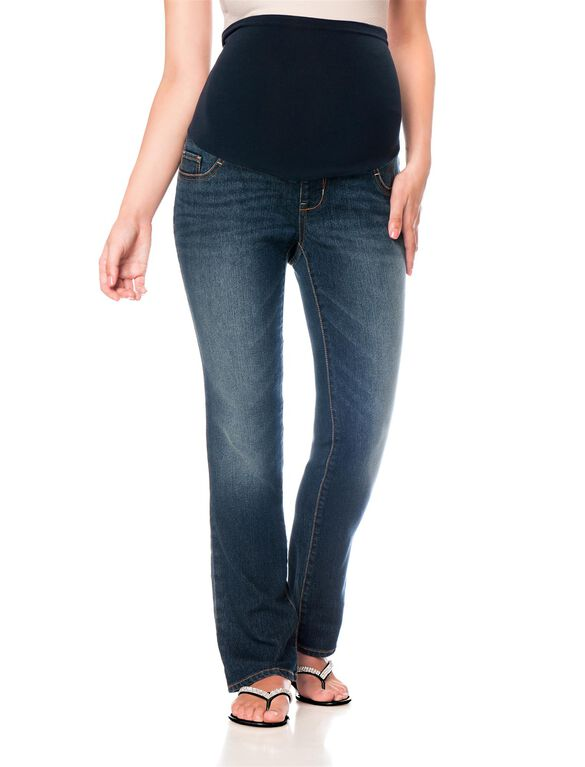 Motherhood Indigo Blue Petite Skinny Boot Maternity Jeans, Dusted Medium Wash