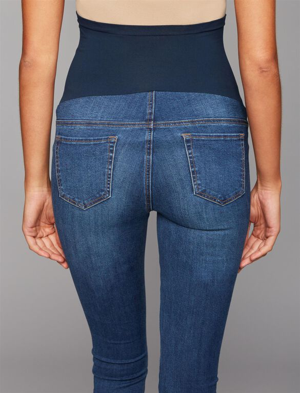 Luxe Essentials Denim Secret Fit Belly Skinny Leg Maternity Jeans, Medium Wash