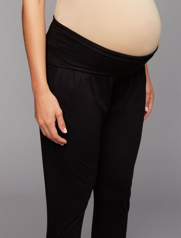Web Only Three Dots Under Belly Jogger Maternity Pants, Black