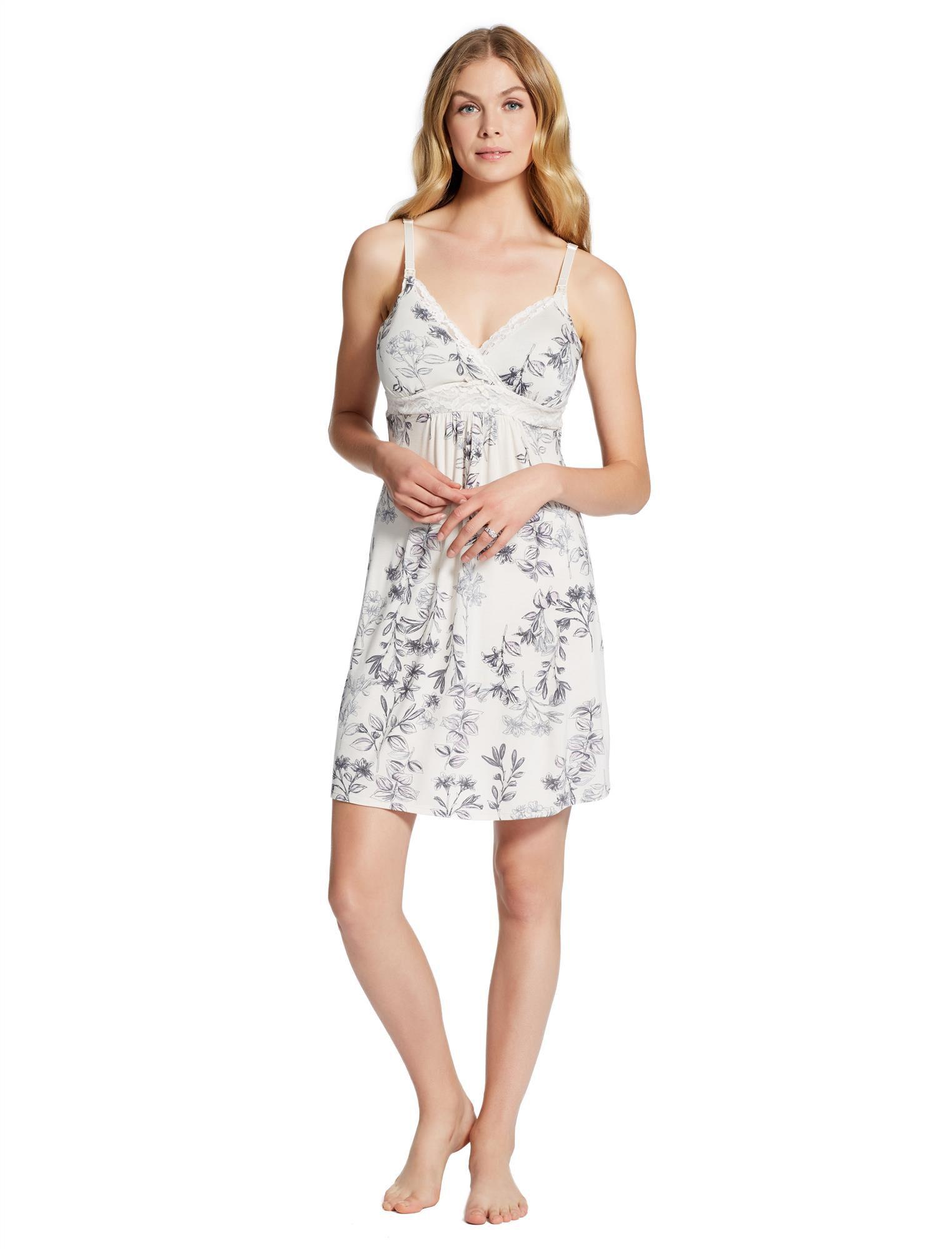 Jessica Simpson Lace Nursing Nightgown- Floral