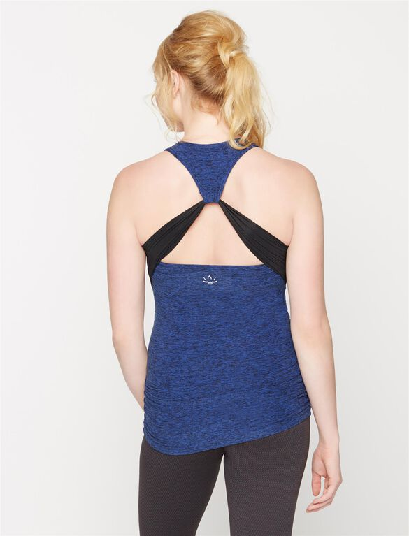 Beyond The Bump Ruched Maternity Tank Top, Lapis Spacedye