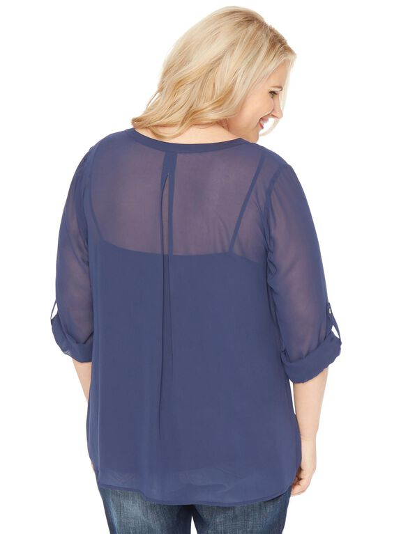 Plus Size Pleated Maternity Blouse, Navy