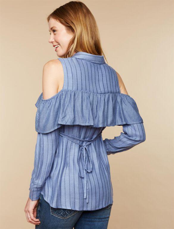 Cold Shoulder Maternity Blouse, Blue Stripe