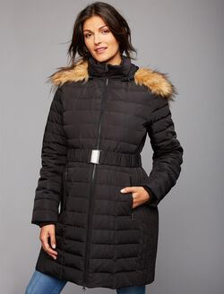 Faux Fur Trim Cotton Woven Maternity Jacket, Black