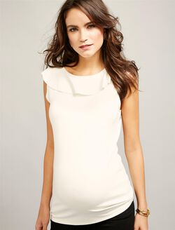 Twenty Ruffled Maternity Top, Cream