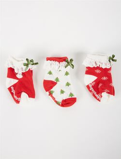 Ruffle And Bow Baby Socks, Christmas Motif