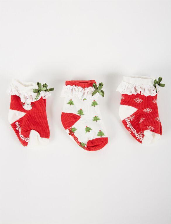 Ruffle And Bow Baby Socks, Christmas Motif