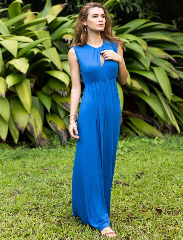 Pietro Brunelli Shirring Detail Maternity Maxi Dress, BLUE