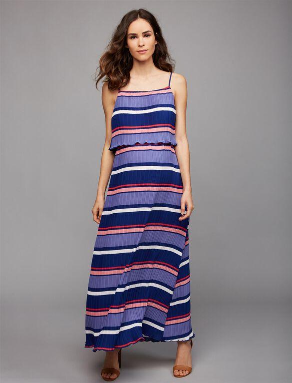 Moon + Sky Pleated Stripe Maternity Maxi Dress, Blue Stripe