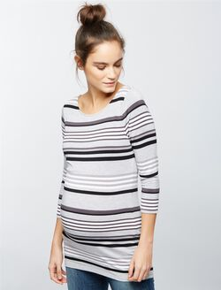 Striped Boat Neck Maternity Tee, Grey/Black Stripe