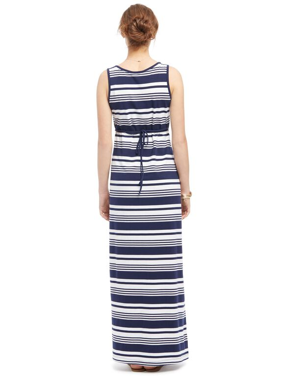Striped Maternity Maxi Tank Dress, Blue Stripe