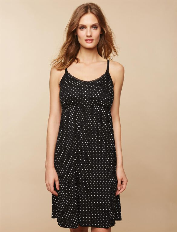 Bump in the Night Nursing Nightgown- Dot Print, Dot
