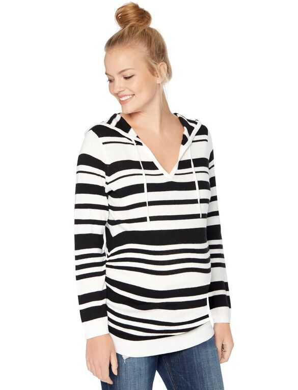 Hooded Pullover Maternity Sweater, Blk/Egret