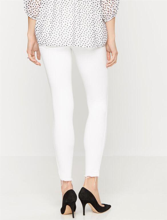 Paige Denim Secret Fit Belly Destructed Skinny Maternity Ankle Jeans, White Mist
