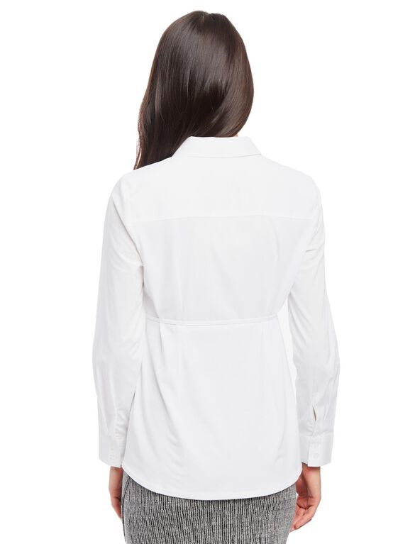 Button Front Tie Detail Maternity Shirt, White