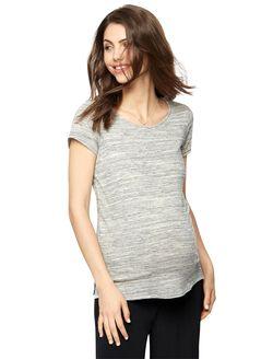 Back Interest Maternity T Shirt, Spacedye Grey