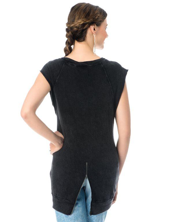 High-low Hem Maternity Sweatshirt, Mineral Black