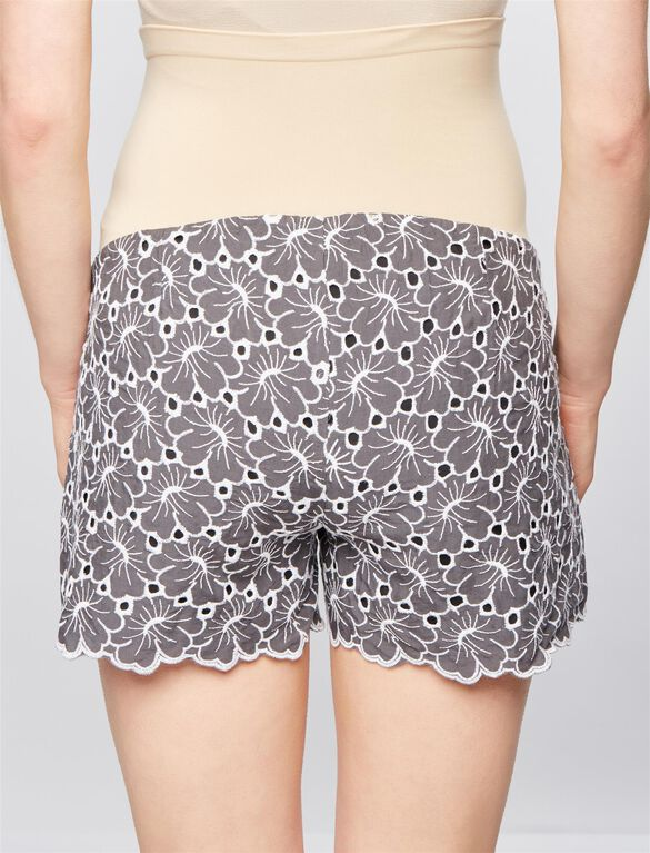 Secret Fit Belly Floral Embroidered Maternity Shorts, Gray/White