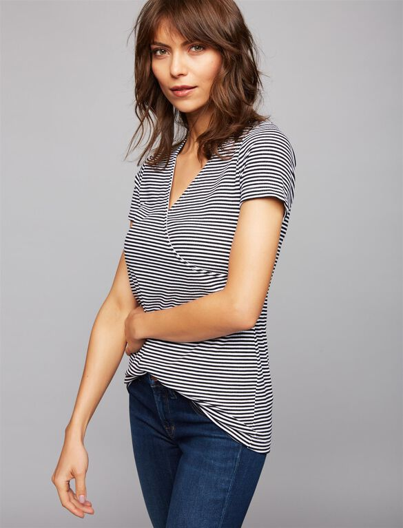 Rib Knit Mock Layer Nursing Top, Black/Wht Stripe