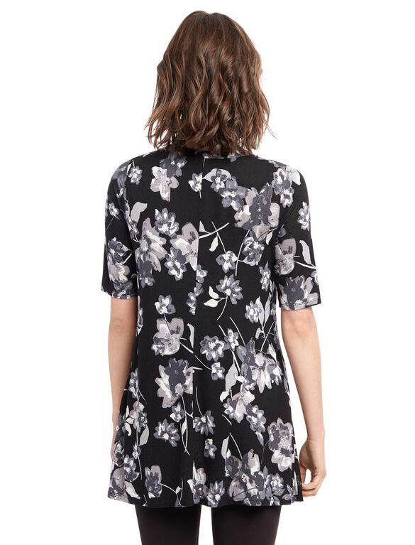 Elbow Sleeve Maternity Tunic- Floral, Floral Print