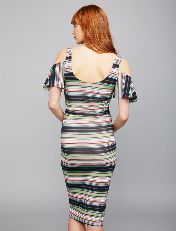 Nicole Miller Striped Cold Shoulder Maternity Dress, Black Multi Print