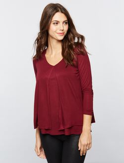 Lift Up Tiered Nursing Top, Burgundy