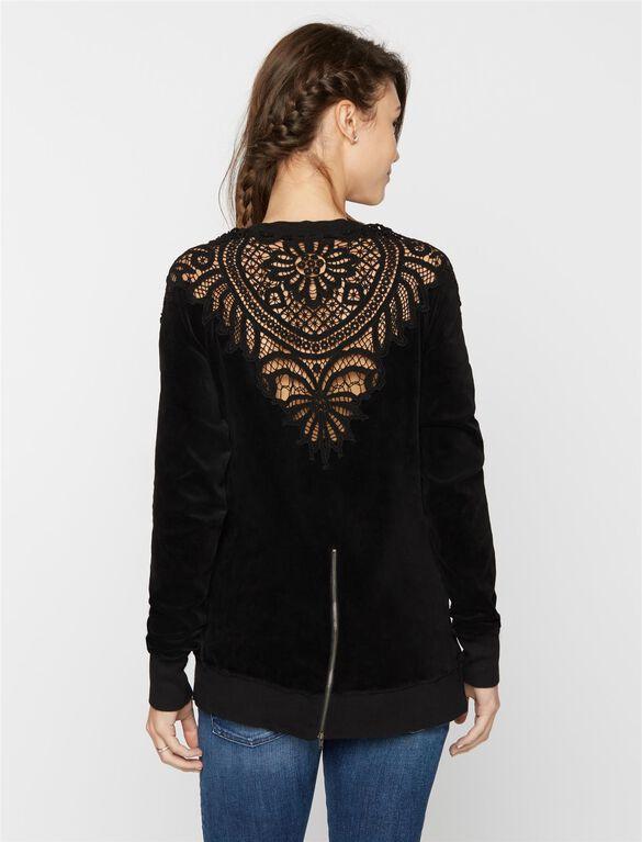 Back Interest Maternity Sweatshirt, Black