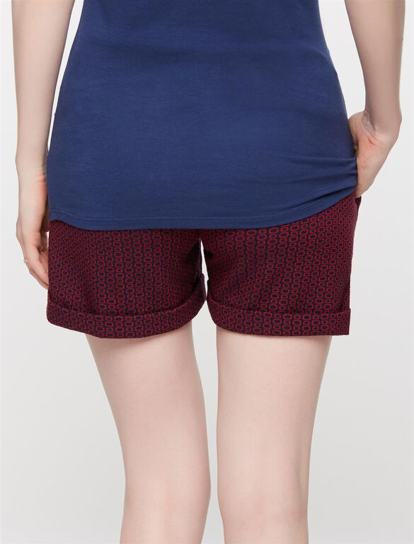 Secret Fit Belly Jacquard Geo Maternity Shorts, Navy/Red