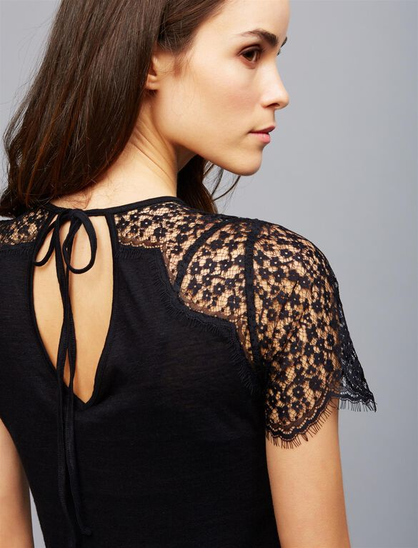 Lace Shoulder Maternity T Shirt, Black