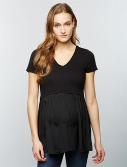 Luxe Essentials Denim Knit Woven Babydoll Maternity Top, Core Black
