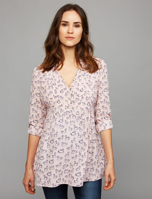 Convertible Sleeve Maternity Blouse, Pink Swan Print