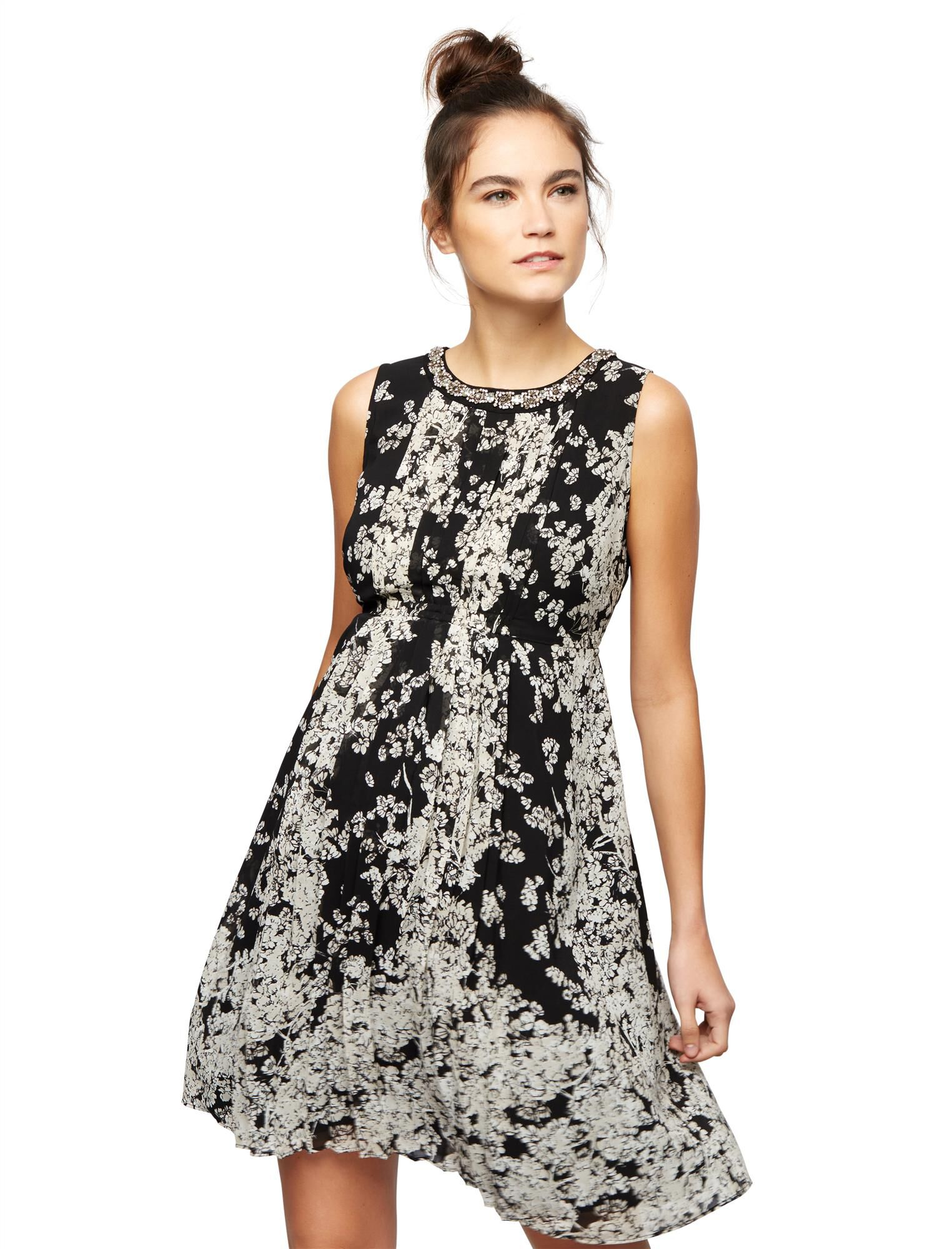 Embellished Neckline Maternity Dress- Floral