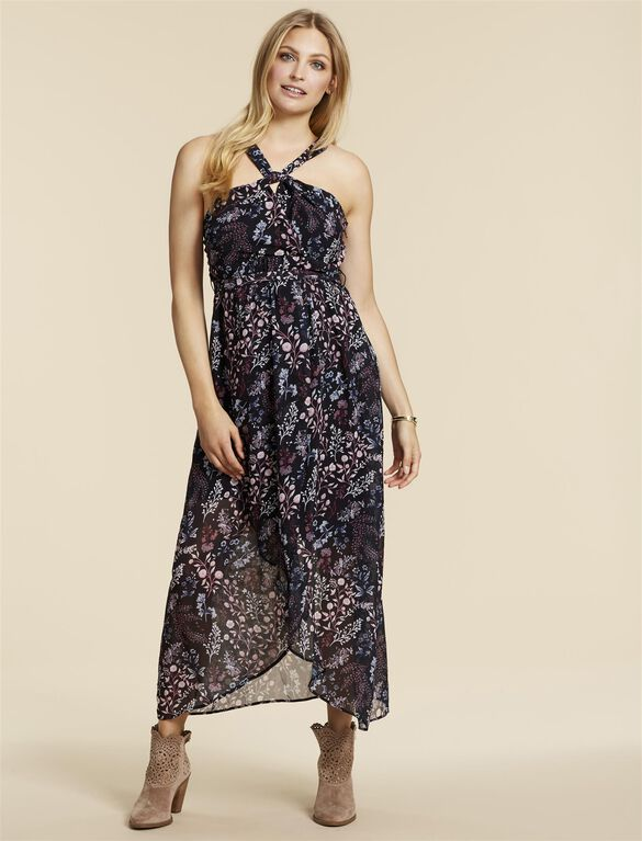 Jessica Simpson Knot Front Maternity Maxi Dress, Black Floral
