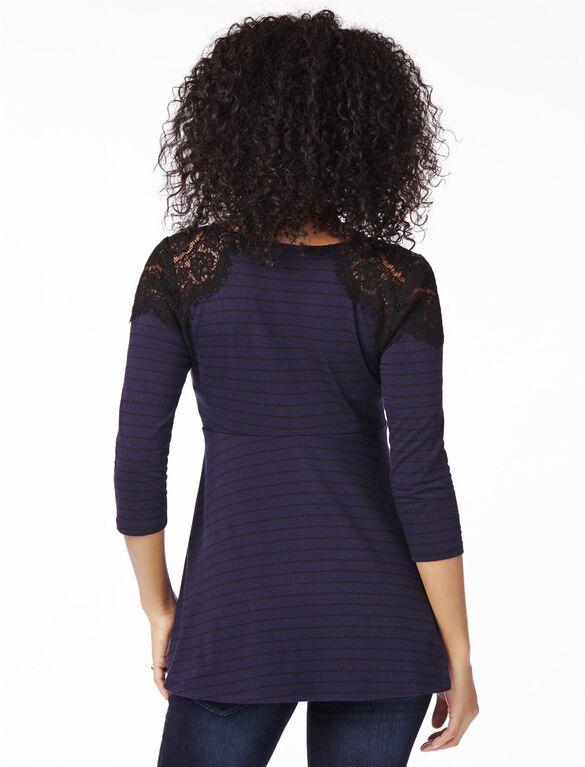 Lace Shoulder Peplum Maternity Top, Navy / Blk Stripe