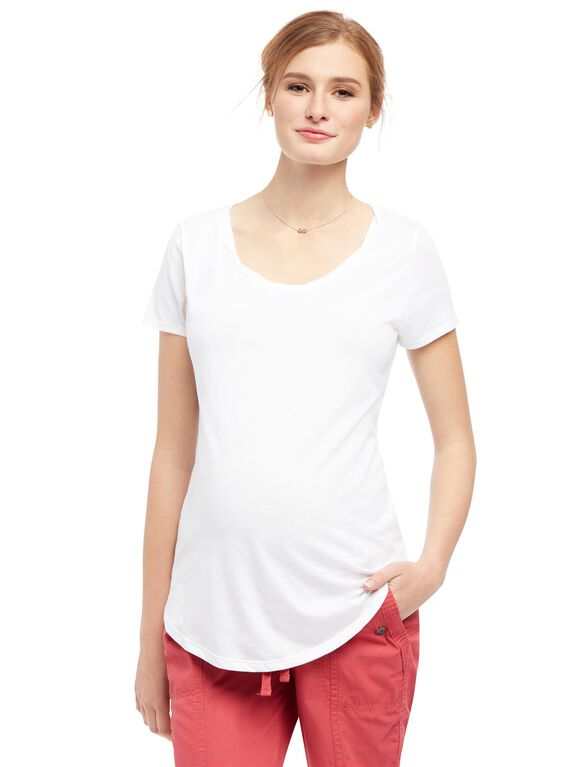 Scoop Neck Maternity Tee, White