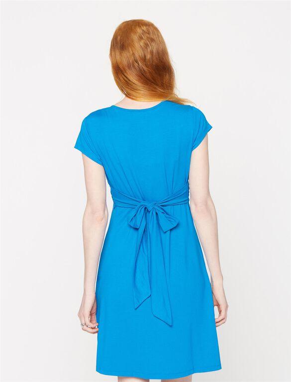 Seraphine Jolene Short Sleeve Maternity Dress- Blue, Seaside