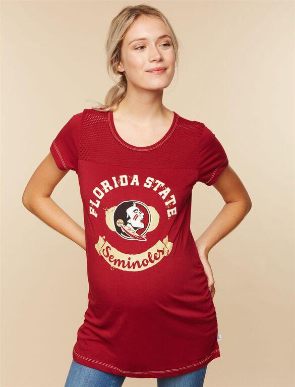 Florida State Seminoles NCAA Mesh Detail Maternity Tee, Florida State