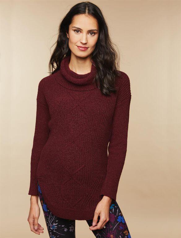 Drape Front Maternity Sweater, Burgundy