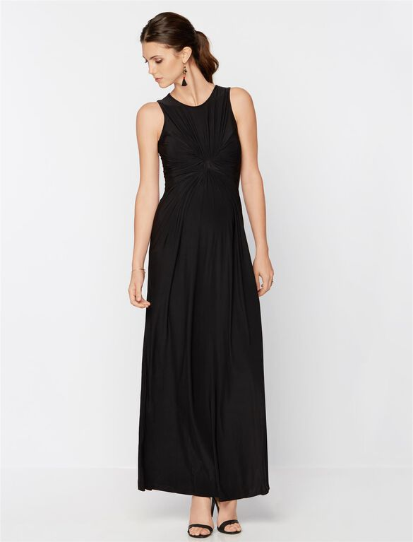 Isabella Oliver Knot Front Maternity Maxi Dress, Caviar Black
