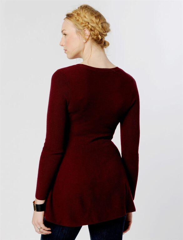 Peplum Maternity Sweater, Bordeaux