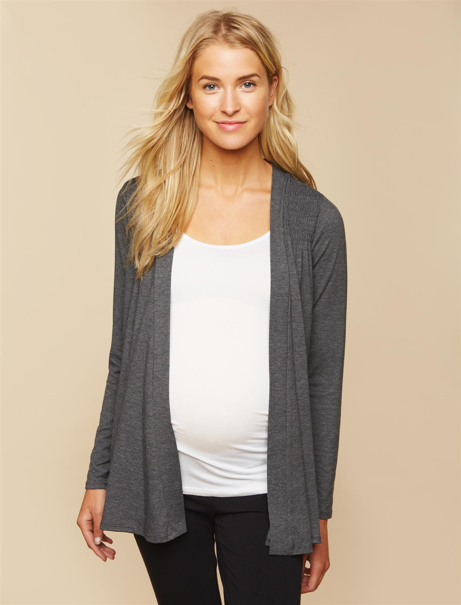 Smocked Maternity Cardigan