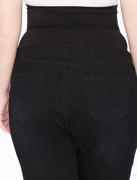 Plus Size Destructed Skinny Maternity Jean, Black