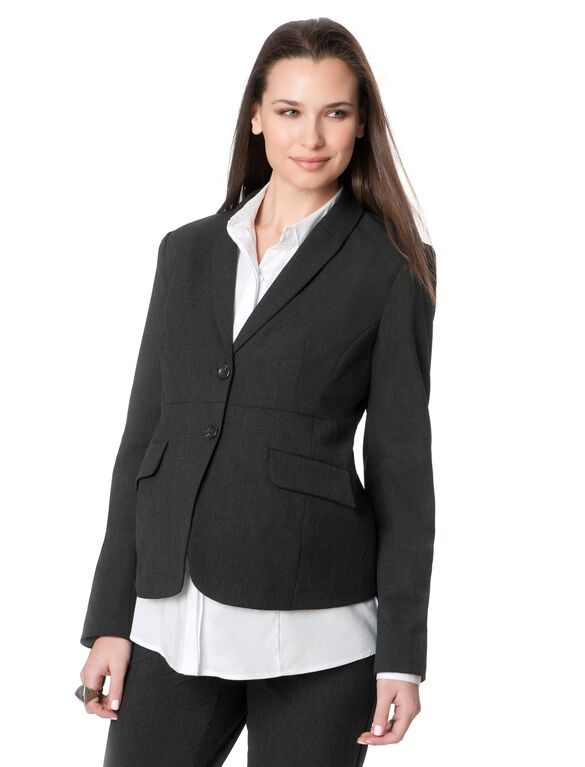 Tailored Bi-stretch Suiting Maternity Jacket, Charcoal