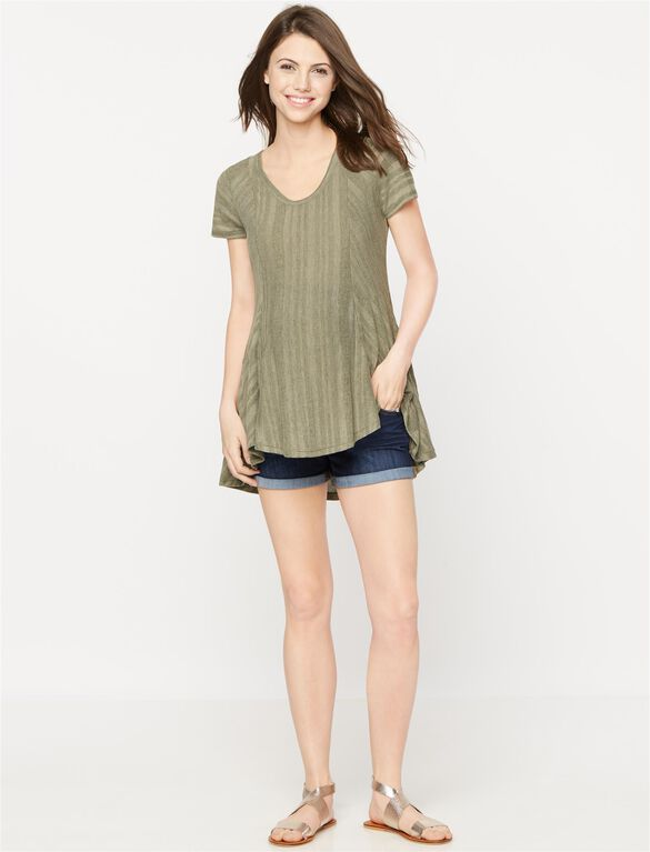 Luxe Essentials Denim Swing Maternity Tunic, Dusty Sage