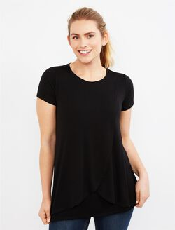 Short Sleeve Tulip Layered Nursing T-shirt- Solid, Black