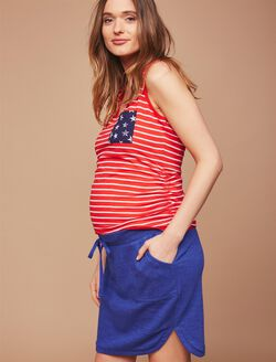Under Belly A-line Maternity Skirt, Blue