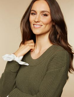Knit Woven Tie Sleeve Maternity Sweater, Olive