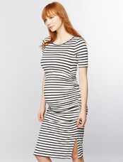 Isabella Oliver Nia Maternity Dress, Black/White Stripe