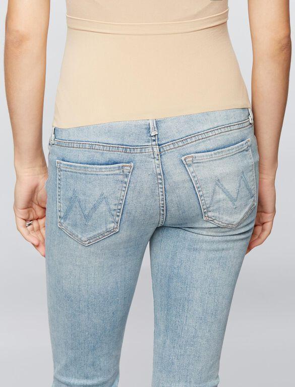 Mother Secret Fit Belly Fray Hem Maternity Jeans, Light Wash
