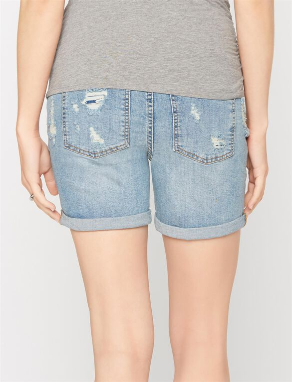 Secret Fit Belly Boyfriend Maternity Shorts, Light Wash